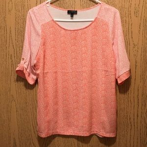 The Limited coral t-shirt blouse with heart detail